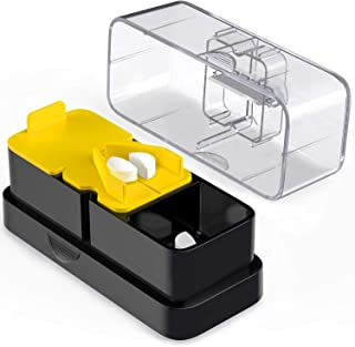 AUVON Pill Cutters, 2-in-1 Pill Splitters for Large Pills Professional with 2 Compartments and a Retracting Blade for Storing and Dividing Medicines of Various Shapes