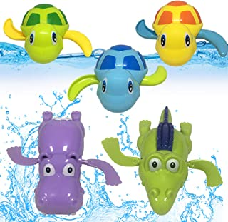 JOLLY SWEETS Turtles Hippo Crocodile Wind Up Toys Floating Bath Toys 5 Pcs, Bathtub Toys for Toddlers, Clockwork Water Toys Swimming Toys Boys and Girls