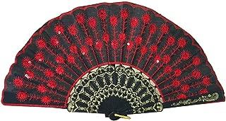 Vosarea Faltfächer Pailletten Pfau Fächer Vintage Stil Retro Handfächer Spanischer Fächer Hochzeit Party DekoRot