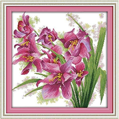 Punto de Cruz Patrones de orquídeas Puntada en Cruz 11CT 14CT Puntada Cruzada de la Flor del Punto de Cruz Kit de Bordado de la Costura (Cross Stitch Fabric CT Number : 14CT Blank Canvas)