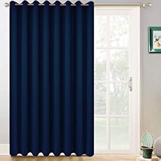 Yakamok Sliding Door Insulated Curtains,Room Divider Curtain,Wide Blackout Patio Door Curtain Panel,Vertical Blinds for Patio Door with Grommet Top(Navy Blue, 100 by 84 Inches,1 Panel)