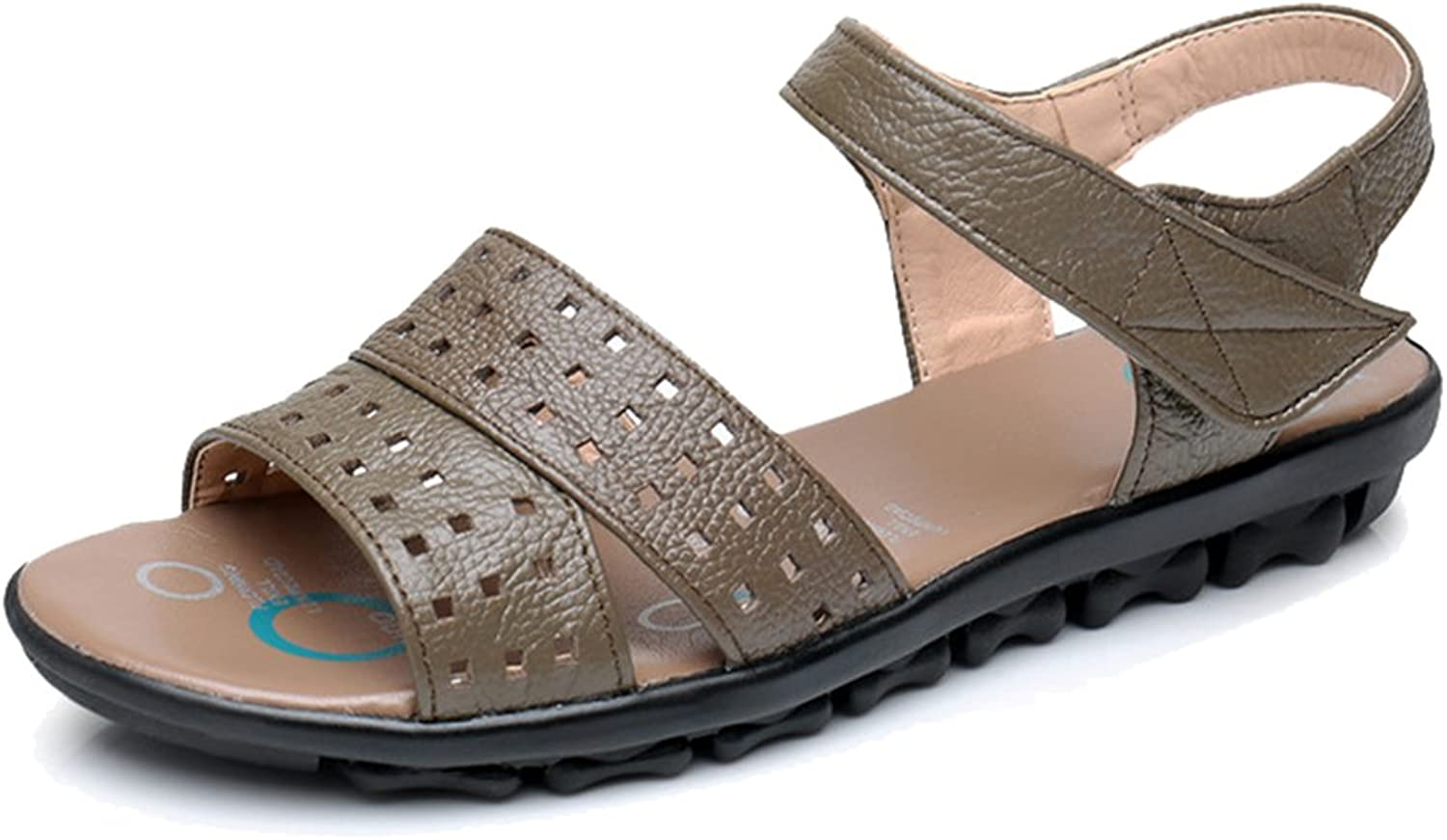 Femaroly Female Middle-Aged Sandals Lady shoes Non-Slip Leather Beach shoes