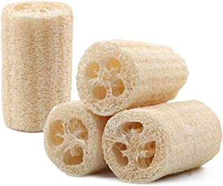 100% Natural Loofah Sponge Set of 4, Premium Organic Loofahs for Body Wash Sponge and Exfoliating Skin, Non-Scratch Kitchen Scrubbing Sponge for Kitchen, Bathroom & More