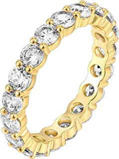 14K Gold Plated Cubic Zirconia Rings | 3.0mm Eternity Bands | Gold Rings for Women