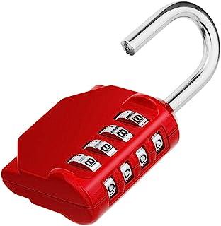 ZHEGE Combination Lock, 4 Digit Outdoor Combination Padlock for Gym, School, Gates, Doors, Hasps and Storage (Red)