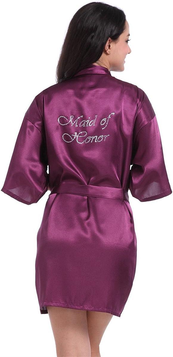 Honeystore Women's Satin Kimono Robe of Maid Rhinestone Hon Chicago Mall Superlatite with