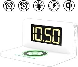 ワイヤレス充電機能・常夜灯付き目覚まし置き時計 クロック デジタル置き時計 ワイヤレス充電器 アラーム スヌーズ ナイトライト LEDライト 常夜ランプ USB出力 QI認証 QI充電 おしゃれ オシャレ インテリア オフィス 目覚まし時計 iPhone 8/8p/XR/XS/XSMAX Android Sumsung