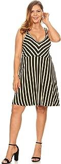 SWEETKIE Plus Size Striped Skater Dress, Sleeveless Tank, A-line Mini, Lightweight