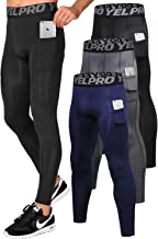 Lavento Men`s Compression Pants Running Tights Leggings with Phone Pockets