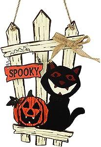 Halloween Door Hanging Welcome Spooky Sign and Wall Signs- Happy Halloween Wooden Plaque Board Sign Decor for Home Office School Outdoor Haunted House Halloween Decorations