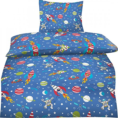Aminata Kids - Bettwäsche Weltall Weltraum Sterne 135x200 Biberbettwäsche Kinderbettwäsche 135x200 Jungen mit Planeten Astronaut Rakete und Ufo Biber