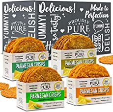 Proudly Pure Keto Snacks Food Parmesan Cheese Crisps Bread (4 Pack Variety Bundle) Low Carb Crunchy Chips, Natural Aged Zero Sugar (Wheat,Soy,Gluten) FREE Crackers