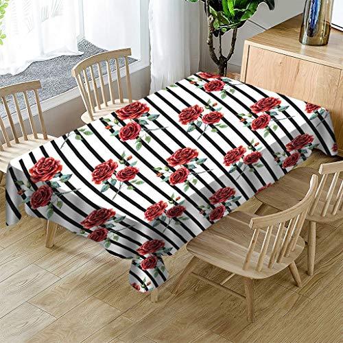 JHSH Nappe Polyester Rectangulaire Rose Motif Table Basse Décoration Durable Nappe Imperméable Et Écologique140X240Cm