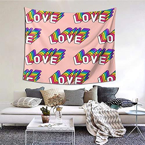 Tapiz de Pared,Fondo de Pantalla de Vector de Parches de Texto de Amor Tapestry (Colgante de Pared) Decoración de Pared Mural del hogar para Dormitorio Sala de Estar 152cmx102cm