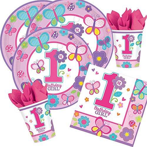 Amscan Juego de Fiesta de 32 Piezas 1er cumpleaños Girl Sweet Birthday Girl - Plato Servilletas con Mariposas y Flores - para 8 Personas