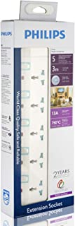 Philips 5 Way Heavy duty Indivisual Switch Socket - 3 Meter