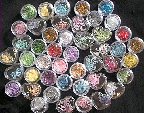 100 boîtes et sachets les poussières, Nail Art, piercings, paillettes, coquillage Répartiteur – Mix Coloré – Cute Nails