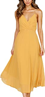 yellow wrap dress midi
