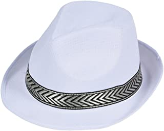 78f939d4 Rhode Island Novelty Modern White Mesh Fashion Fedora With Contrasting Hat  Band