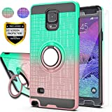AYMECL Galaxy Note 4 Case, Note 4 Phone Case with HD Screen Protector, Ring Holder Gradient Dual Layer Protective Case for Note 4 5.7 inch-BG Mint&Rose Gold