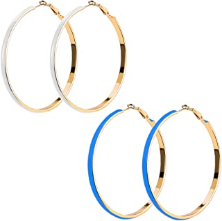 Large Enamel Charm Spring Hoop Earrings in Gold Tone with 2 Pairs Set