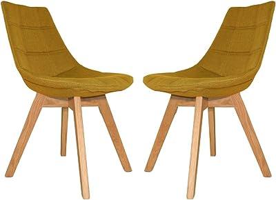 Meubletmoi Lot de 2 chaises Tendances en Tissu Jaune