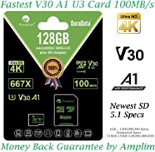 128GB Micro SD Card Plus Adapter - Amplim V30 A1 100MB/s 667X MicroSDXC Memory Card Pack 128 GB (Class 10 U3 UHS I XC) MicroSD Card 128G SDXC TF Card - Cell Phone, Nintendo, Camera, GoPro, Fire, DJI