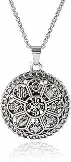 Om Lotus Mandala Medallion Pendant Necklace Tibetan Buddhist 8 Symbol Meditation Yoga Inspired Bohemian