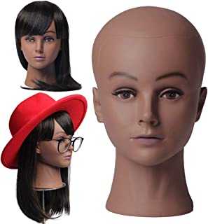 NEWSHAIR Bald Famale Mannequin Head with Eyelash Training Head Wig Head Professional Cosmetology for Wig Making and Display Hat Helmet Glasses or Masks Display Head Model with Free T-Pins (Dark Brown)