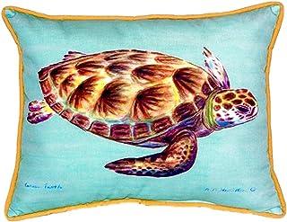 "Betsy Drake SN044C Green Sea Turtle - Teal Pillow, 11"" x14"""