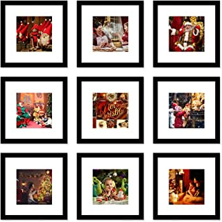 WOOD MEETS COLOR Picture Frames Set Wall Gallery Collage Frames Photo Mats (9-12x12)