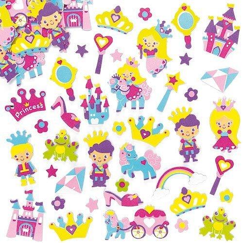 Baker Ross- Pegatinas de Espuma con Diseños de Princesa (Pack de 120) para Decorar Tarjetas, Cuadernos, Manualidades y Collages Infantiles