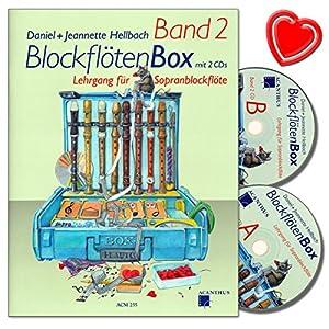 BlockflötenBox Band 2 – Lehrgang ( Unterstufe: 7 – 8 Jahre) für Sopranblockflöte mit 2 CDs von Daniel Hellbach – mit bunter herzförmiger Notenklammer