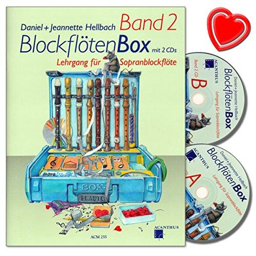 BlockflötenBox Band 2 - Lehrgang (Unterstufe: 7-8 Jahre) für Sopranblockflöte mit 2 CDs von Daniel Hellbach - mit bunter herzförmiger Notenklammer