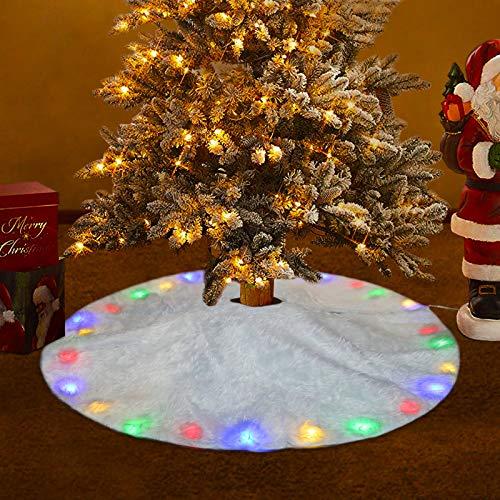 FREESOO Weihnachtsbaumdecke Christbaumdecke Rund Weihnachtsbaumständerhüllen Weihnachtsbaum Rock Christbaumständer Teppich Weihnachtsdekoration Weihnachtsbaum Teppich 78CM LED
