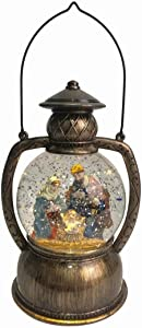 "Regency International 7.5"" LED Nativity Lantern Water Globe - Christmas Decoration Snow Globe"