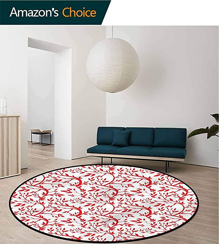 Red Super Soft Circle Rugs For Girls Branches Full Of Leaves Area Rug Perfect For Any Place Diameter 24