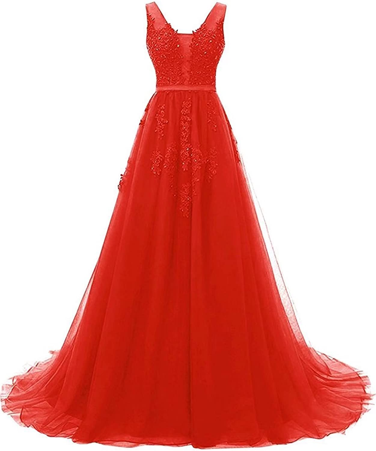 YOUTODRESS Women's VNeck Tulle Bridesmaid Dress for Evening Wedding Gowns Lace Appliques