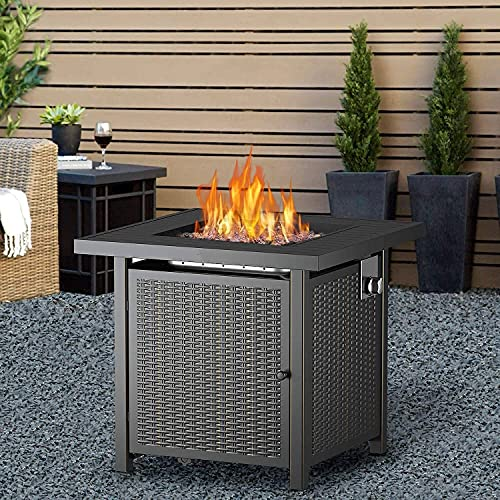 YQZ Outdoor Propane Fire Pit Table, Adjustable Flame Gas Fire Pit Table with Auto-Ignition, Elegant Wicker Design, Square Fire Table with Lid