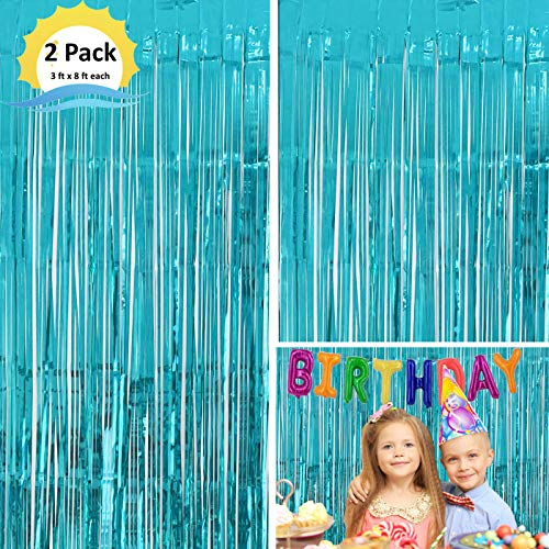 Moohome 2 Pack 3ft x 8ft Aquamarine Blue Foil Curtains Metallic Tinsel Fringe Curtains Shimmer Door Window Curtain Backdrop for Birthday Wedding Bridal Shower Baby Shower Photo Booth Party Decorations