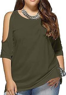 Allegrace Women Plus Size Cold Shoulder T Shirt Short Sleeve Split Womens Tops
