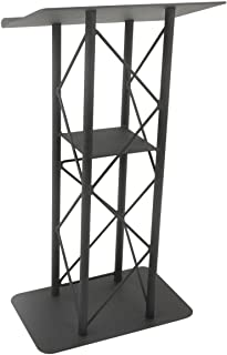 Displays2go 25-Inch Truss Podium for Floor with Interior Shelf Aluminum and Steel - Black (LCT4PSTPBK)