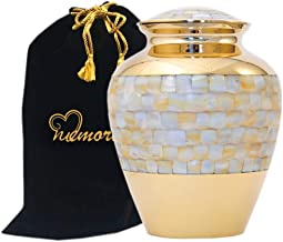 Elite Mother of Pearl Cremation Urn - Mother of Pearl Urn for Human Ashes - Handcrafted Large Funeral Urn Deal