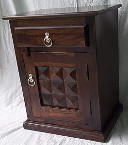 Zivanto-Bedside Table for Bedroom | Solid Wood Side Table for Bedroom | Living Room Table | Side Table for Living Room Furniture Made with Solid Indian Sheesham Wood-Honey/Natural Finish