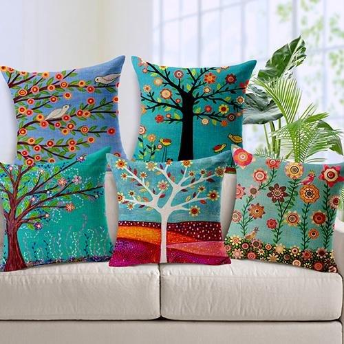 Lot de 5 Taie d'oreiller Country Pastoral Coussins fine imitation lin Home décoratifs doux couvertures de taie d'oreiller avec fermeture à glissière pour chaise sans insert Oreiller extérieur/intérieur Home Decor (45,7 x 45,7 cm, fleurs)