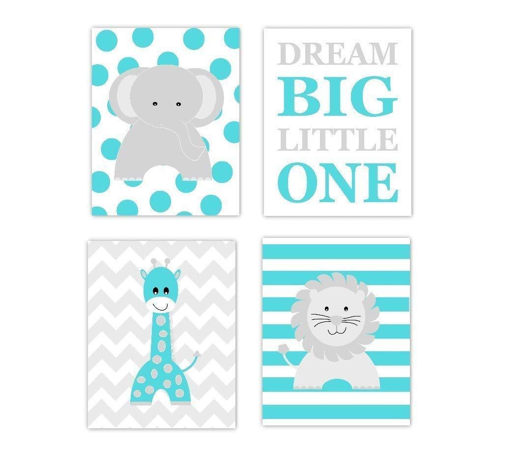 List price Teal Gray Mail order cheap Baby Nursery Wall Art Giraffe Dream Elephant Lion Big