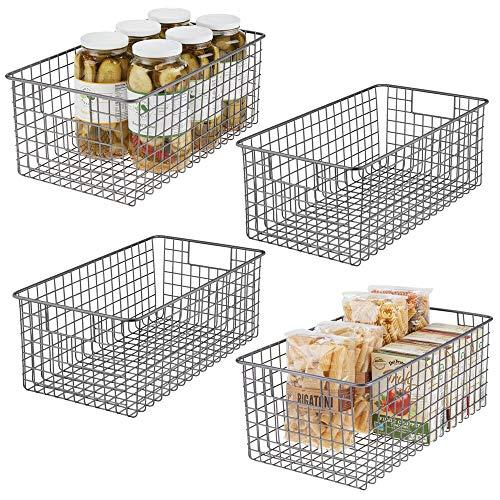 mDesign 4er-Set Allzweckkorb – kompakter Aufbewahrungskorb aus Metall mit Griffen – universelle Gitterbox für Küche, Bad und andere Räume – grau