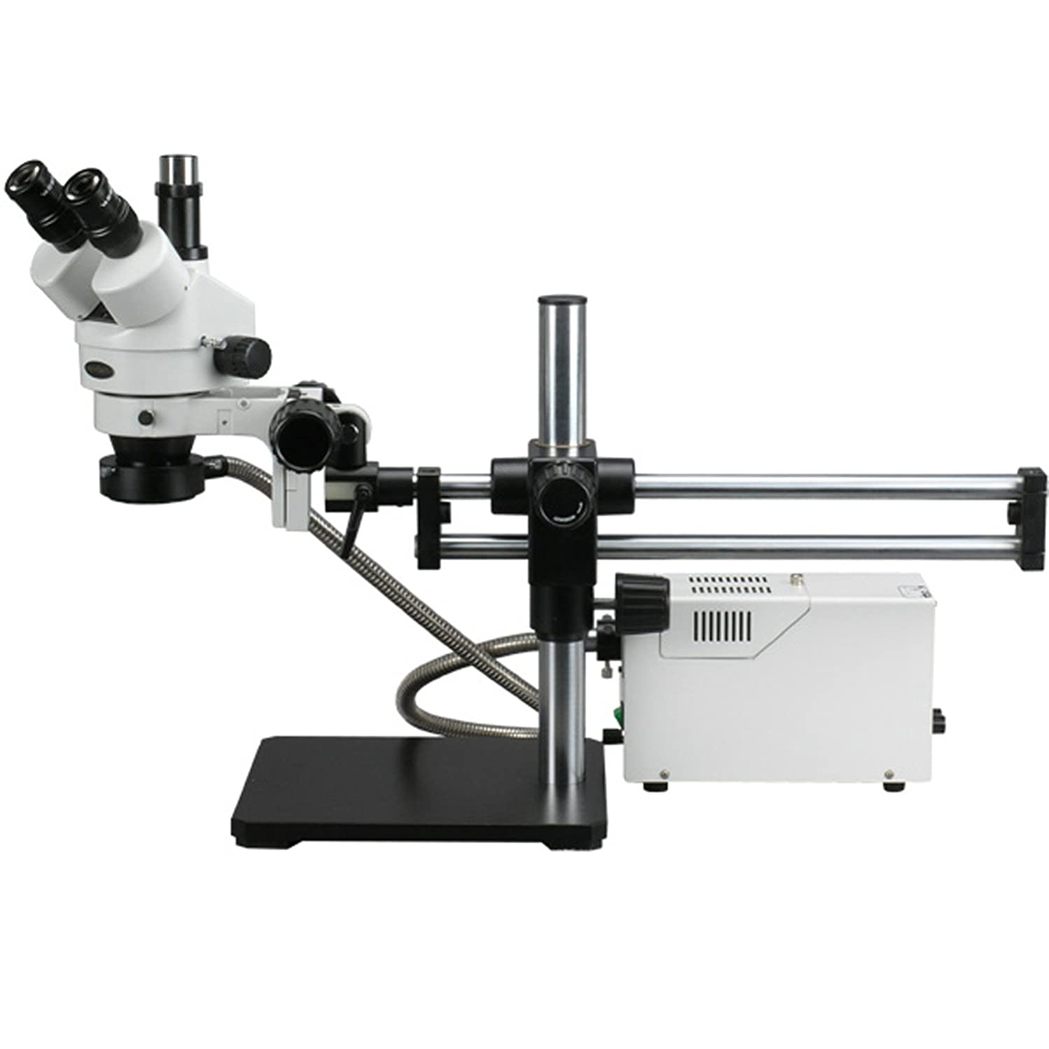 AmScope SM-5TZZ-FOR Professional Trinocular Stereo Zoom Microscope, WH10x and WH20x Eyepieces, 3.5X-180X Magnification, 0.7X-4.5X Zoom Objective, Fiber-Optic Ring Light, Ball-Bearing Double-Arm Boom Stand, 110V-120V, Includes 0.5X and 2.0X Barlow Lenses