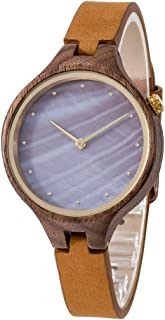Wood Watch, Bosan Wrist Watch for Women Unique Shell Dial Genuine Leather Strap Fashion Analog Quartz Wooden Watch