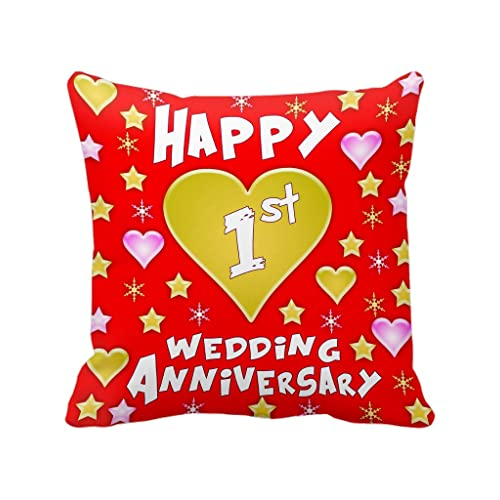 TIED RIBBONS 1st Wedding Anniversary Printed Cushion (12 Inch X 12 Inch) with Filler for Gift (Multicolor)